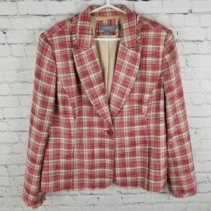 KORET | boucle tweed lined raw edge blazer